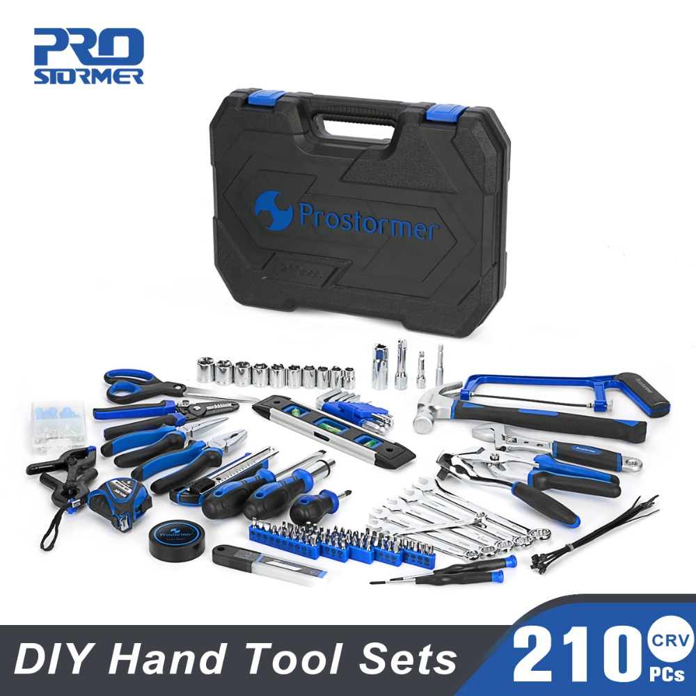 Prostormer 210 pcs Hand Tool Set General Household Repair Tool Kits with Storage Toolbox Hammer Screwdriver Knife hand tools