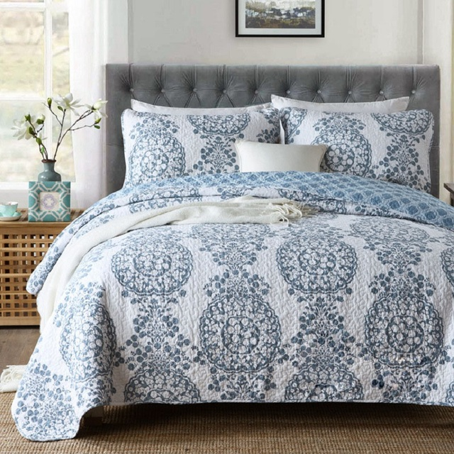 Paisley Pattern Summer Quilt Set 3PCS Bed Spread Quilted
