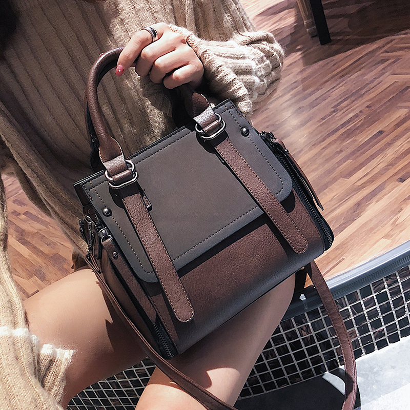 European style Fashion New Women Handbags 2019 High quality Matte PU Leather Portable Shoulder bag Ladies Hit color Big Tote bagEuropean style Fashion New Women Handbags 2019 High quality Matte PU Leather Portable Shoulder bag Ladies Hit color Big Tote bag