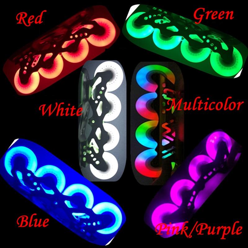 8pcs/lot 90A 72mm 76mm 80mm 90mm 100mm 110mm Flashing Roller Wheels PU LED Flash Inline Skating Slalom Roller Skates Wheel