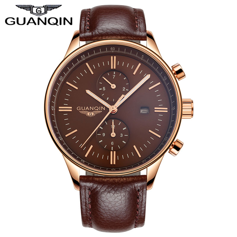 2015 GUANQIN Mens Watches Men Luxury Brand Genuine Leather Strap Mens Quartz Watch Male Rose Gold relogio relojes Clock