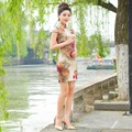 2016 new  fashion evening dresses wedding dress short sleeve sexy mini cheongsam chinese traditional qipao Free shipping