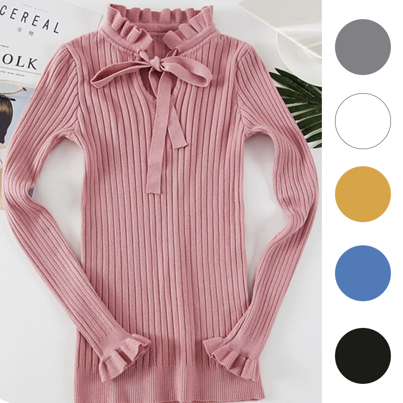 b02e8091cb Casual Slim Sweater Women 2018 Autumn Spring Knitted Sweater Lace Up Flare  Long Sleeve Ruffle Knitting Pullover Womens Sweaters 17.12 €