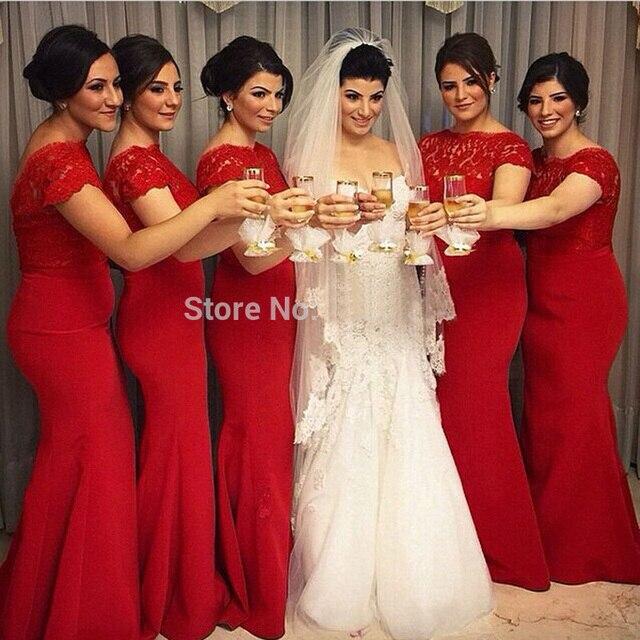30276f1c3 Elegante encaje rojo largos Vestidos de Dama de 2016 cucharada sirena de  manga corta de las