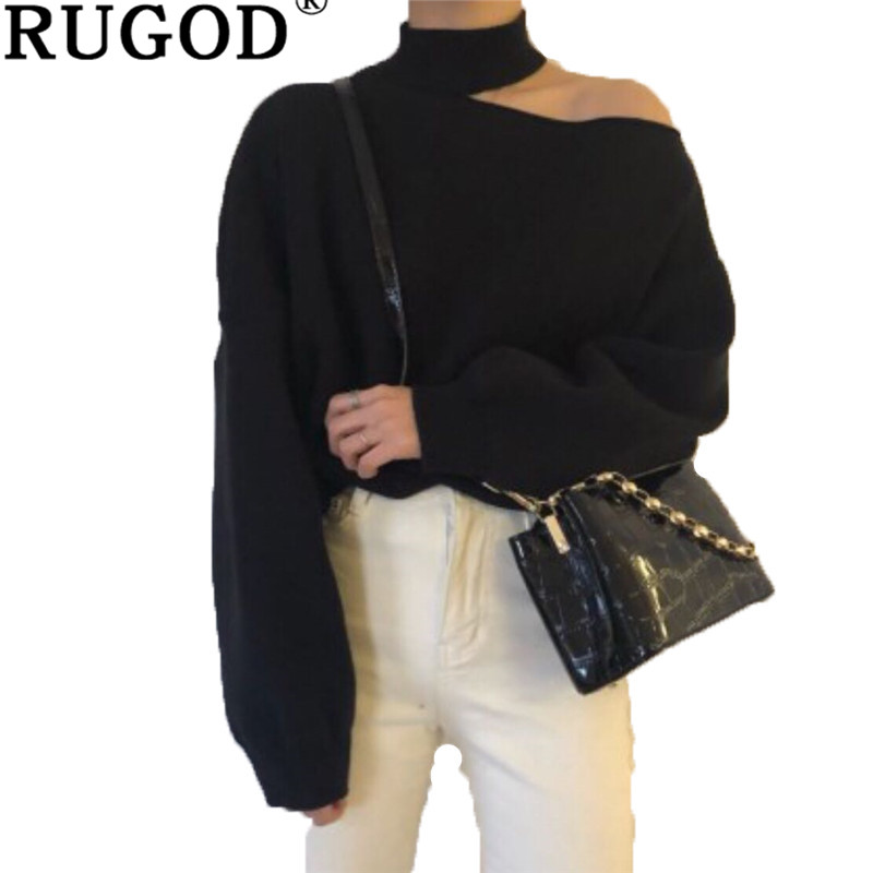 RUGOD Fashion one shoulder knitted sweater women Casual solid lantern sleeve pullover jumper sweaters female pull femme hiver リネン オールインワン 半袖