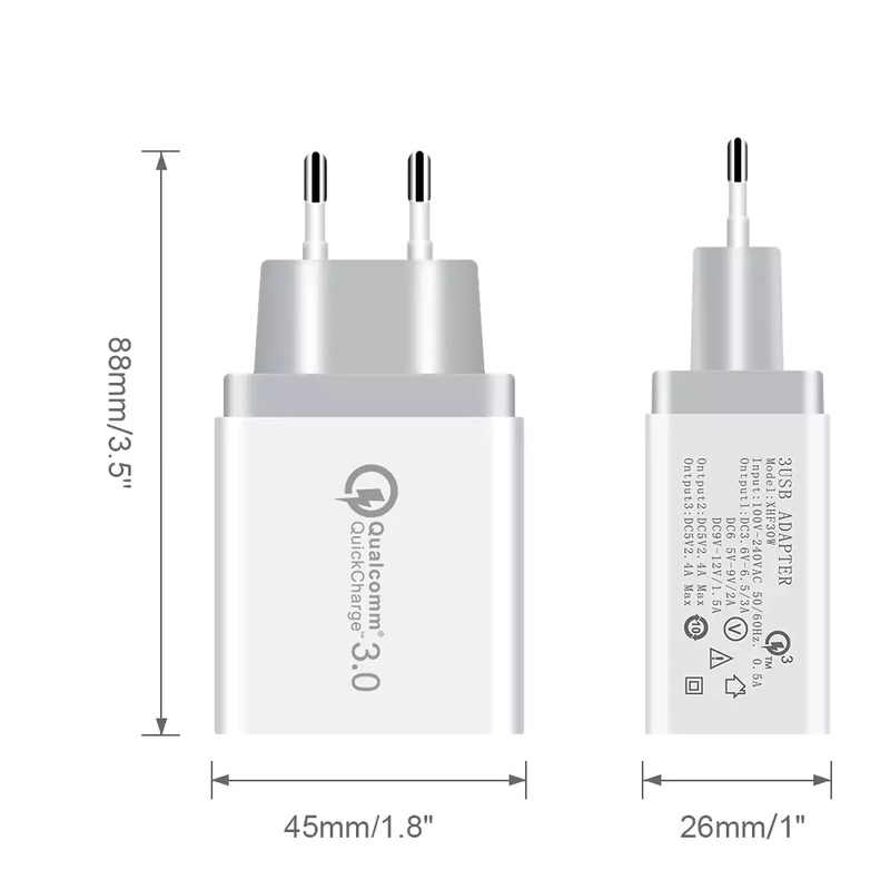 USB شاحن آيفون Xs X 8 7 سريع الهاتف شاحن 3 منافذ ل Xiaomi a2 جدار شاحن الاتحاد الأوروبي الولايات محول سريعة الهاتف المحمول شاحن