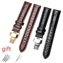 Lizard Genuine Leather Watchbands 16 18 20 22 mm Watch Butterfly buckle Watch Band Steel Buckle Strap Wrist Belt Bracelet  3A все цены