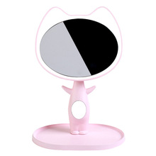 1pc HD LED Makeup Mirror Natural Light Cute Cat ABS Pink White Green Colors 1200mAh Battery Charging Lamp Storage Cosmetics A185