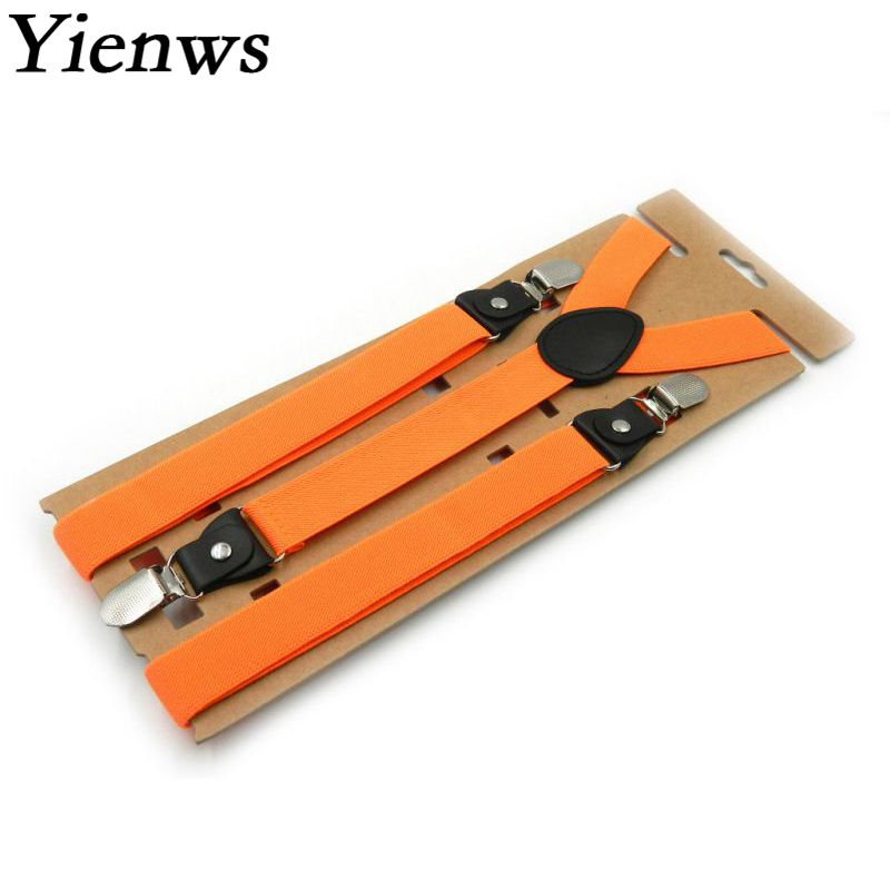 Yienws Female Pants Suspenders 3 Clip Orange Suspenders For Women Y-Back Black Strap Braces Ladies Tirantes 115*2.5cm YiA062