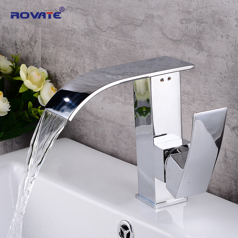ROVATE Bathroom Basin Faucet Waterfall Unique Design Brass Chrome Deck Mounted Sink Mixer Taps deck mounted bathroom waterfall bathtub sink faucet widespread brass basin mixer taps chrome finish