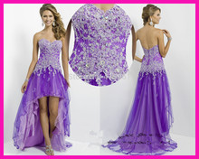 2015 Tulle Purple Sweetheart Lace Beaded High Low Prom Dress Evening Gown for Girls Romantic E4454