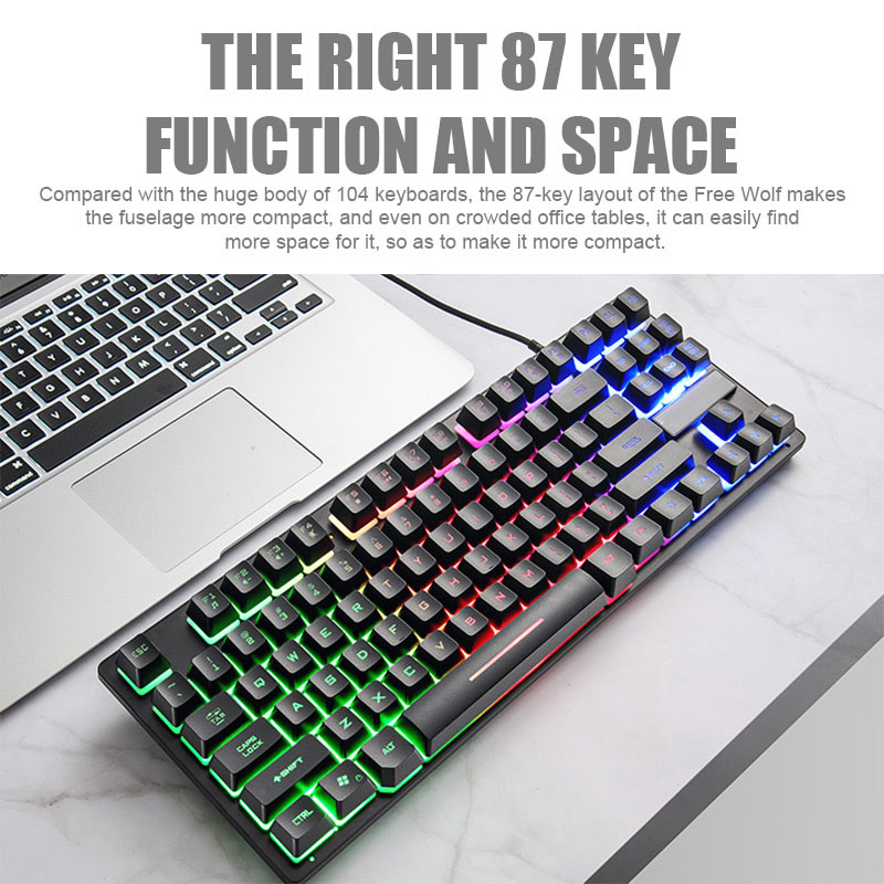 87 Key Gaming Keyboard Mechnical Backlight Waterproof Ergonomic Durable Keypad  JLRJ88