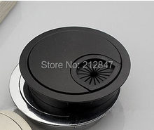 50mm Computer Desk Metal Grommets Wire Cable Hole Round Cover Black(China)