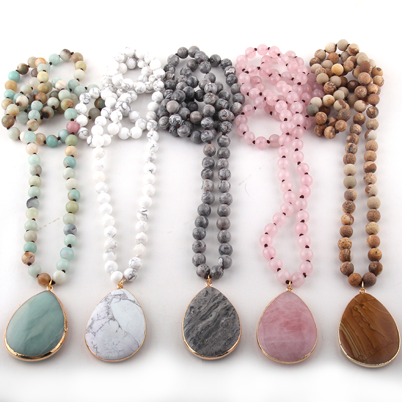 Fashion Bohemian Jewelry Natural Stone Knotted Stone Matching Drop Pendant Necklaces Women Beaded Necklace