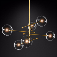 Nordic Glass Crystal LED Chandelier Lighting Bedroom Living Room Chandelier Interior Pendant Lamps Glass Ball Hanging Lamp Avize