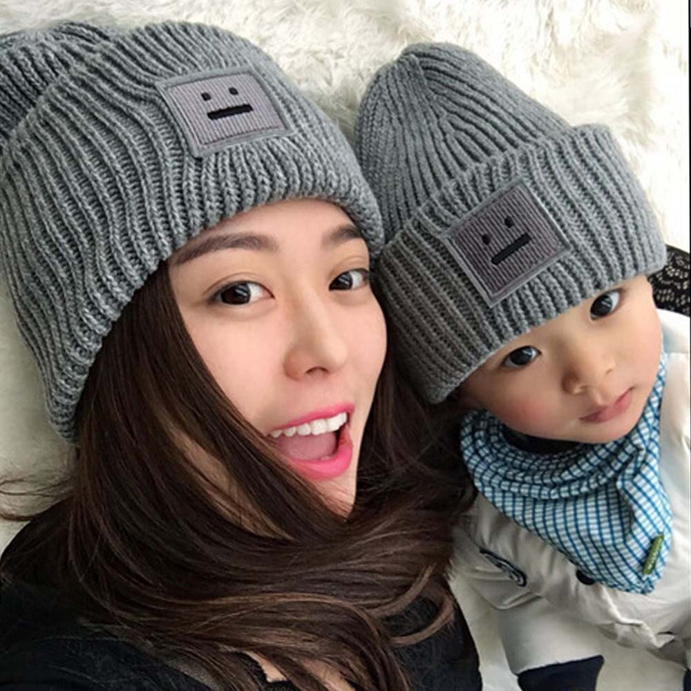 Cute Korean Solid Knitted Woolen Hats With Emoji For Women And Man Winter Warm Fashion Dimentional