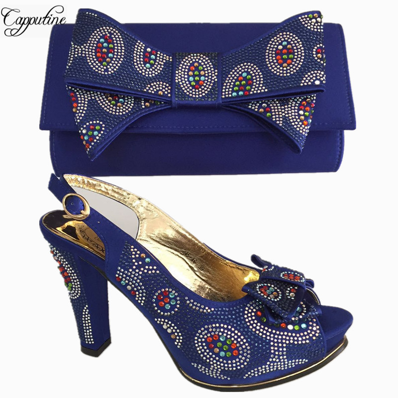 Capputine Hot Selling Royal Blue Color Shoes And Bag Set Italian Pumps Shoes With Matching Bags ...