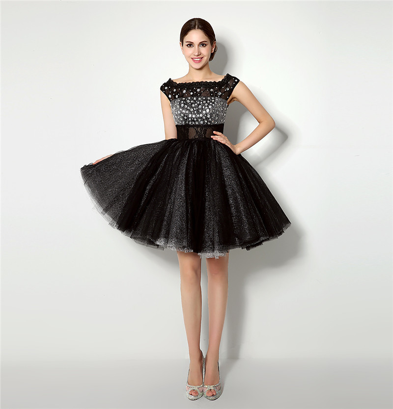 100% Real Photos Black A Line Cocktail Dress Sexy Beaded Crystals Short Homecoming Evening Party Gown Plus Size Dinner Gown