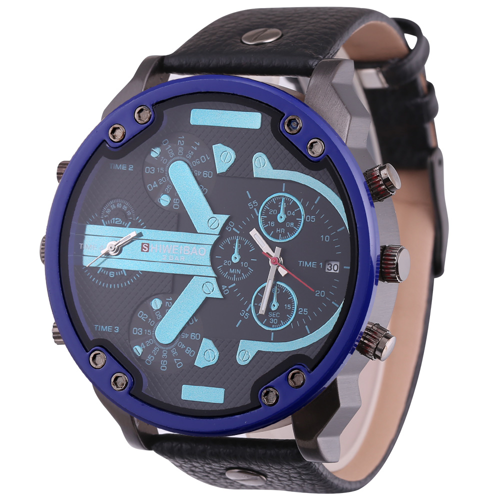 top luxury dz style mens watches cool quartz watch for men black leather strap dual time zones male clock (8)