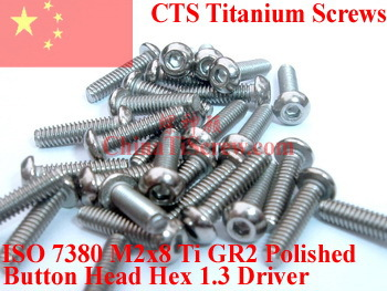 Titanium screw M2x8 ISO 7380 Button Head Hex 1.3 Driver Ti GR2 Polished 50 pcs 7380 fan7380 sop 8