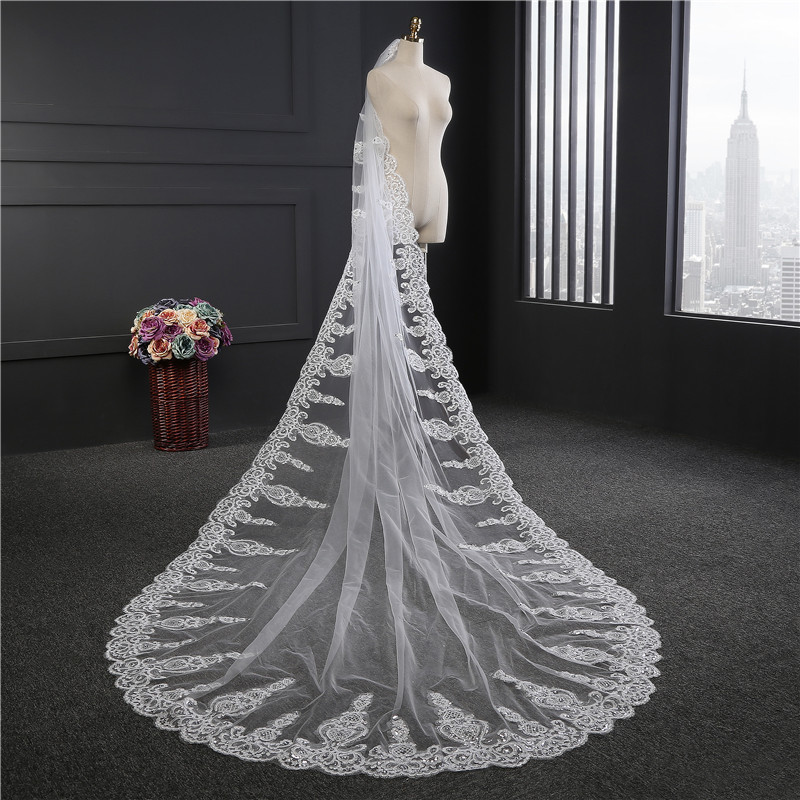 3 5 Meter Wedding Veil Long White Lace Liques Bridal Veils Mesh For Bride With Comb Was10056 In From Weddings Events On
