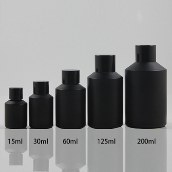 125ml black frosted Glass bottle With black aluminum screw cap and reducer.for Essential Oil/liquid cream/lotion,glass Container
