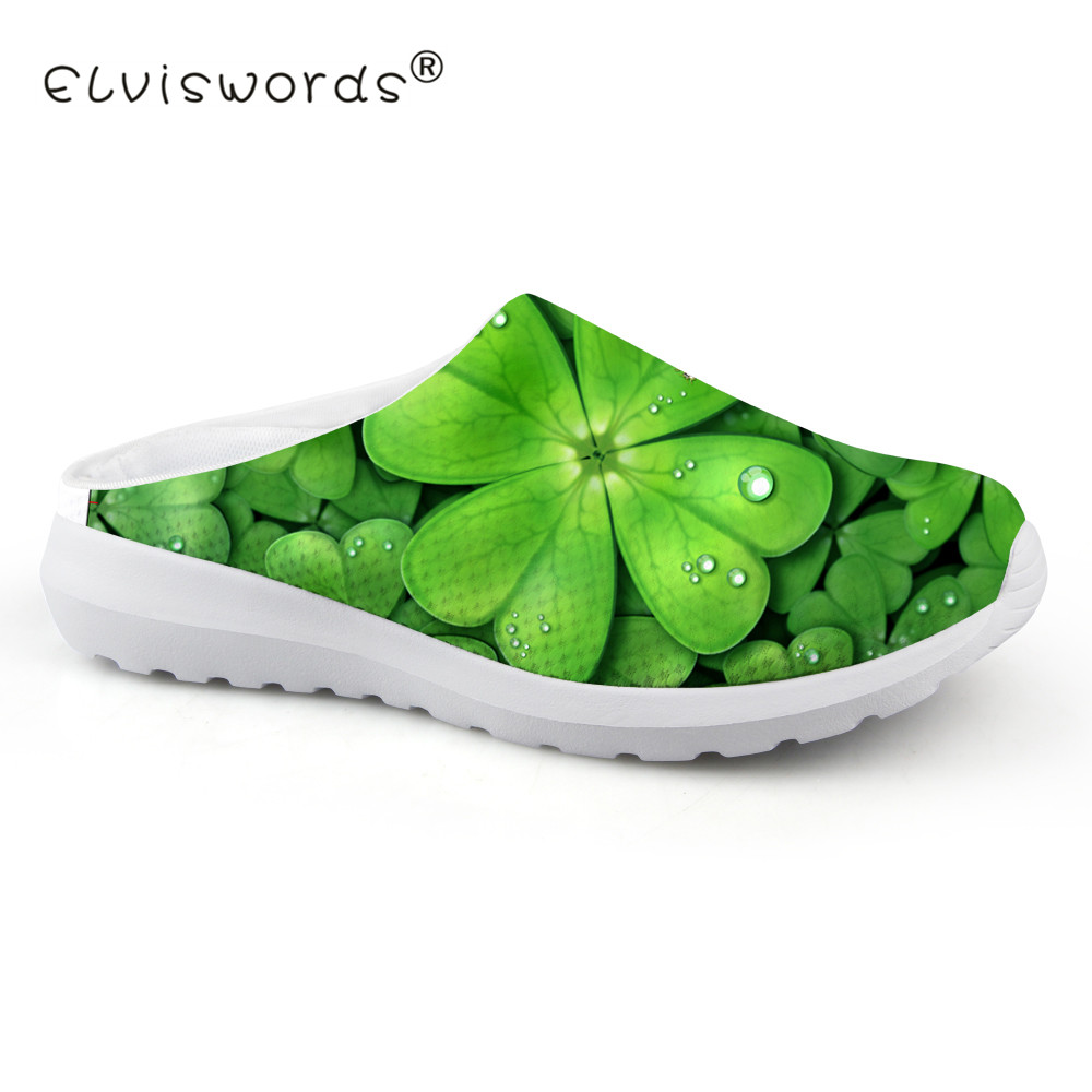 ELVISWORD 3D Greem Lucky Leaf Printed Summer Mesh Sandals Women Breathable Light Weight House Slippers for Ladies Beach Flats beach house
