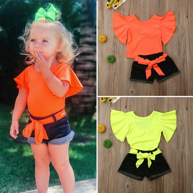 2019 New Summer Toddler Girl Kid Clothes Sets Solid Pagoda Sleeve Ruffle Tops+Jeans Pants Cotton Outfit Set 1-6Y