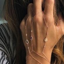 Розовый браслет-цепочка из розового золота, соединенный пальмовый браслет из циркония, ювелирные украшения, многослойные браслеты AAA, Искрящиеся cz браслеты для женщин