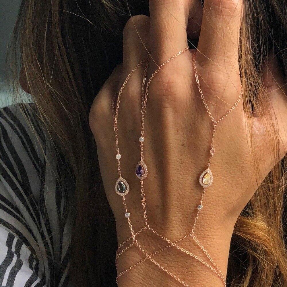 Розовое золото, браслет цепочка, соединенный палец, ладонь, цирконий, браслеты, ювелирные изделия, слои AAA, Искрящиеся cz браслеты для женщин