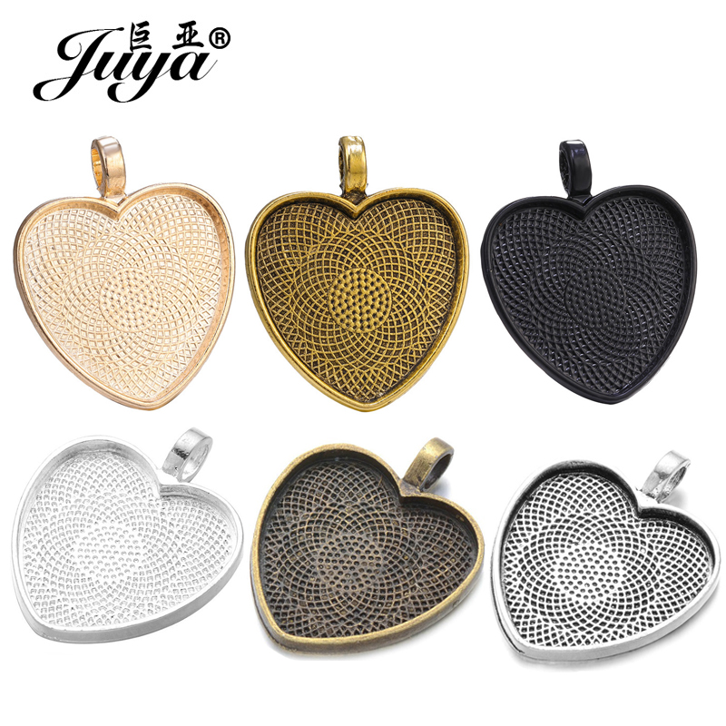 10pcs Heart Cabochon Settings Silver Plated Pendants Bezel Trays Base Fit 25mm Glass DIY Necklace Making Supplies Accessories