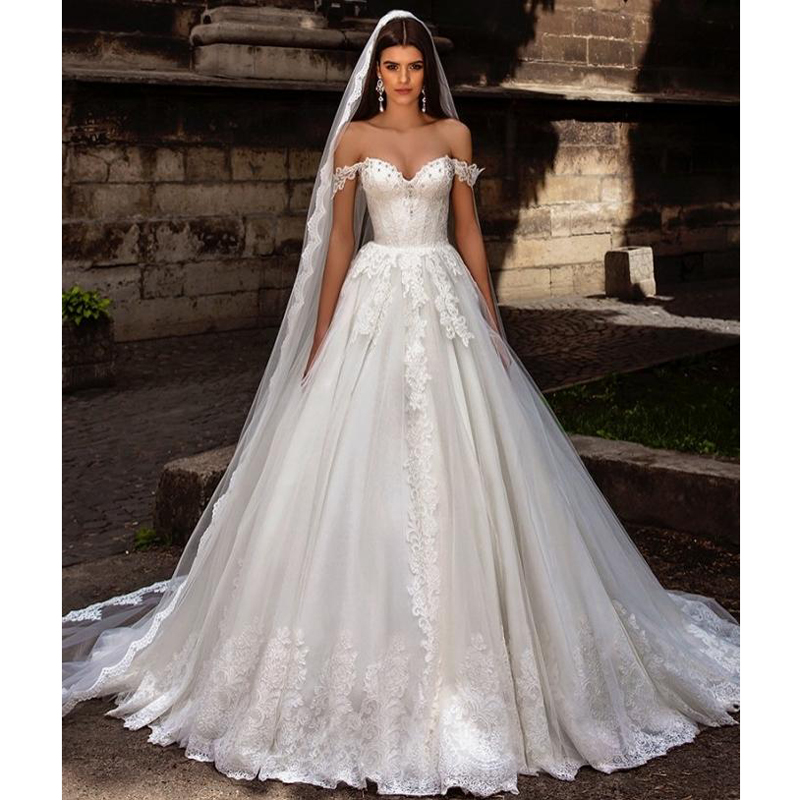 Buy off the shoulder princess wedding for Lace off the shoulder wedding dresses