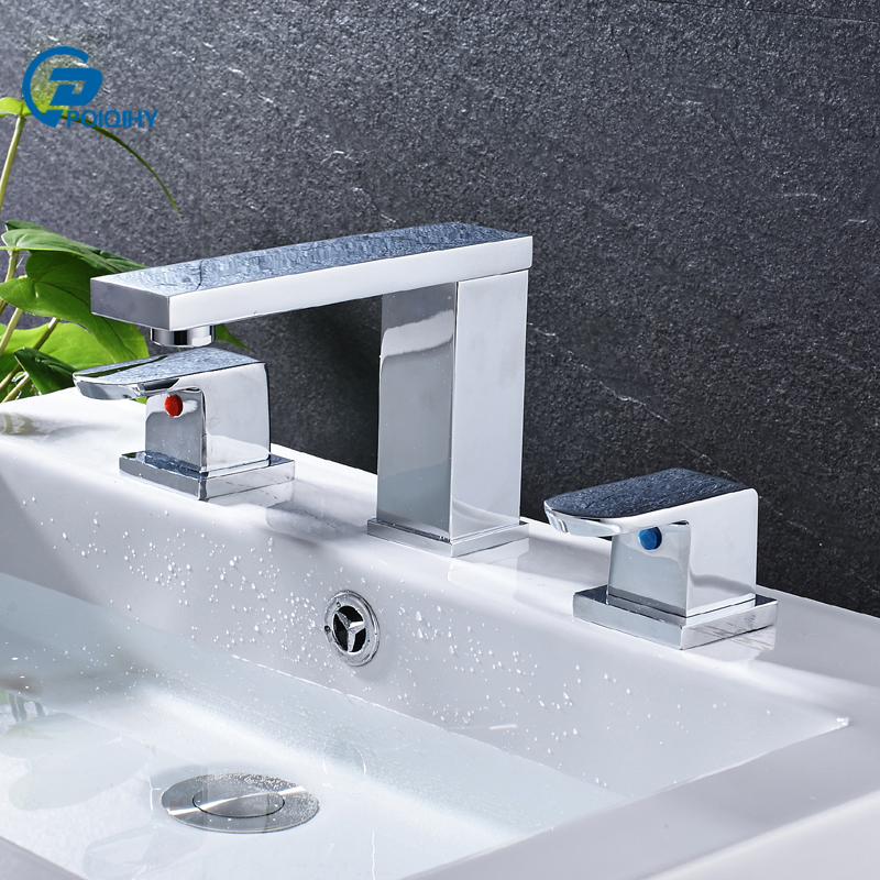 POIQIHY  Basin Sink Faucet Chrome Basin Faucets Double Handle Long Spout Mixer tap Deck Mounted Basin & Bathroom Tap bathroom waterfall spout deck mounted chrome sink basin faucet mixer tap ewo handles