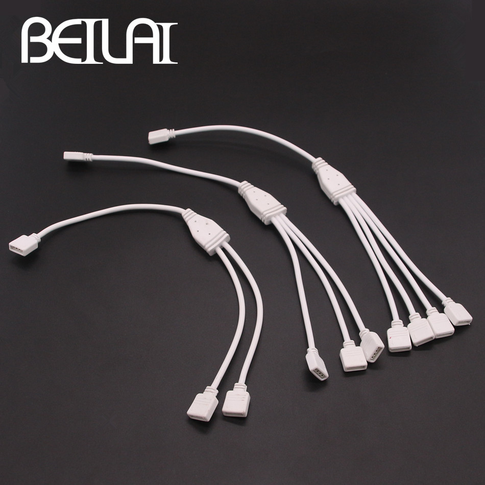 BEILAI 4pin RGB Connector HUB 1 to 2 3 4 Splitter female extension wire cable For RGB LED Strip SMD 5050 2835 3528 1pcs rgb connector 4pin 1 to 2 3 4 cable rgb led flexible strip female connector for smd 3528 5050 rgb strip light