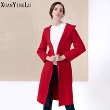 Hot! XUANYINGLU Casual Wool 2016 New Women Blends brand of high-end fashion star solid color long-sleeved hooded Long Coats