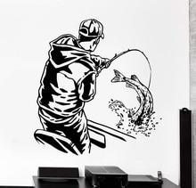 ديكور المنزل جدار الفينيل زين الأسماك الصيد الرياضة رجل في قارب المنزل الداخلية ديكور فني خلفية ديكور 2KN18