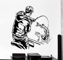 Home Decor Wand Vinyl Applique Angeln Fisch Sport Mann in Boot Home Interior Kunst Dekor Dekor Tapete 2KN18