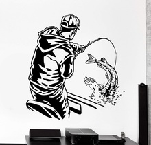 Trang Trí Nhà Tường Vinyl Táo Câu Cá Thể Thao Người Trong Thuyền Nội Thất Nhà Nghệ Thuật Trang Trí Decor Giấy Dán Tường 2KN18