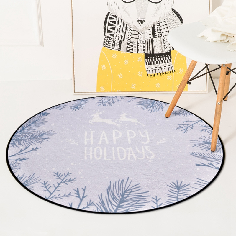 Nordic Gray Deer Round Carpets For Living Room Bedroom Chair Area Rugs Children Room Play Tent Kids Soft Floor Mat Carpet Rug