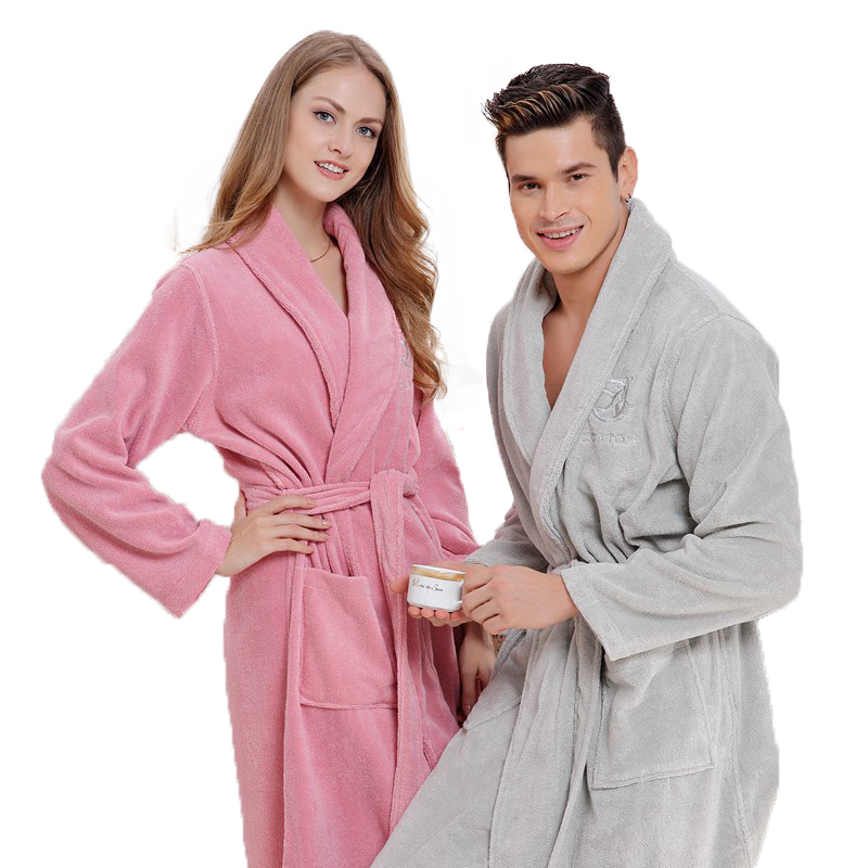 Cotton Men Bathrobe  Thick Long Towel Fleece Warm Soft Winter Nightgown Women Nightdress Ladies Antumn Summer White