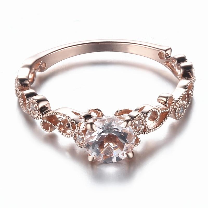 Sterling Silver 925 Certified Round Cut 5.5mm Pink Morganite Diamonds Engagement Wedding Ring Vintage Antique Fine Gemstone Ring