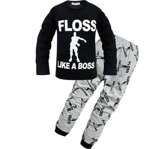 Image 4 - Kids Floss Like a Boss All Over Gaming Black Gold Cotton Long Pyjamas Youth Boys pajamas Children clothing set Boy pijamas PJS