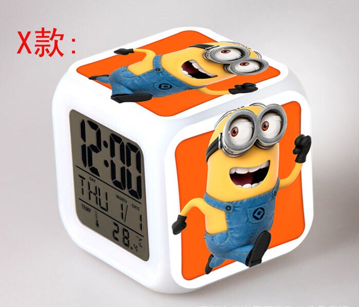 despicable me minions bedroom clock digital led 7 color flash change night light alarm clocks reloj despertador in alarm clocks from home garden on - Bedroom Clock