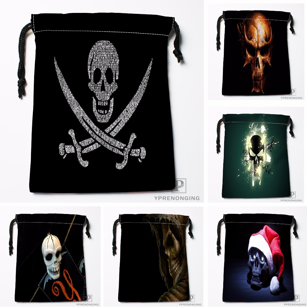 Custom Skull Drawstring Bags Printing Travel Storage Mini Pouch Swim Hiking Toy Bag Size 18x22cm#180412-11-60