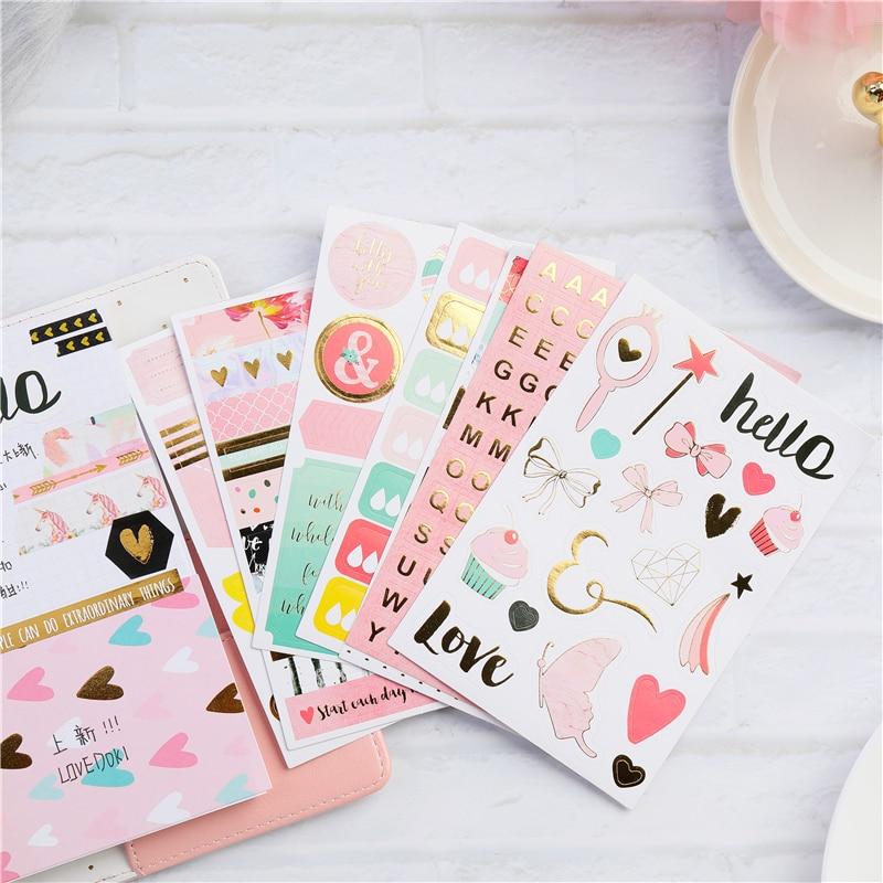 Lovedoki Cute Girly Planner Accessories Label Sticker Notebook Decoration Stickers Scrapbooking Diy Stationery School Supplies