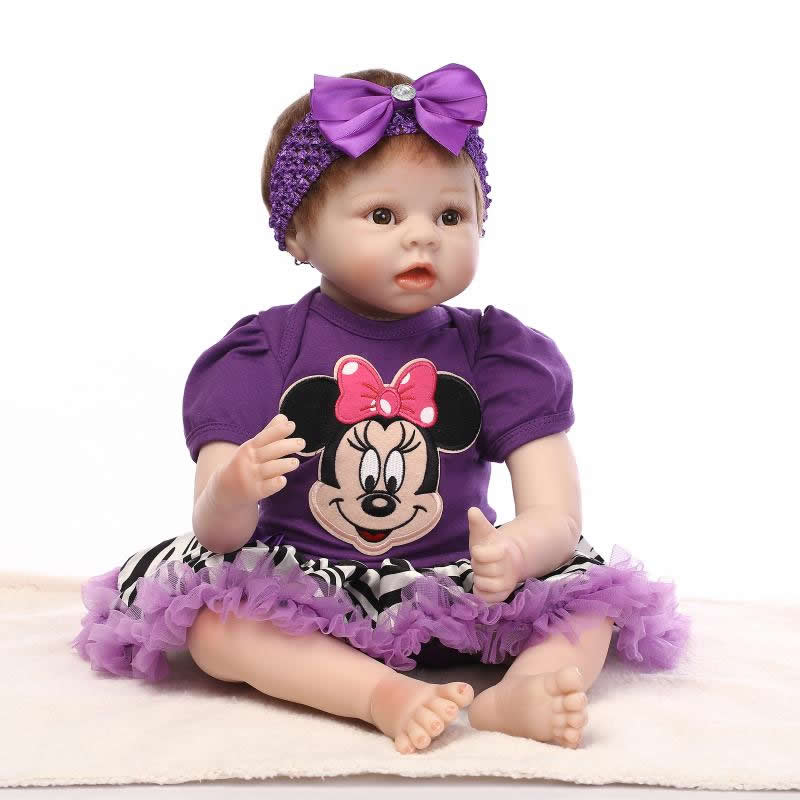 Realistic Lifelike Silicone Reborn Baby Dolls 22 Inch Handmade Princess Girl Babies With Brown Eyes Kids Christmas Birthday Gift can sit and lie 22 inch reborn baby doll realistic lifelike silicone newborn babies with pink dress kids birthday christmas gift