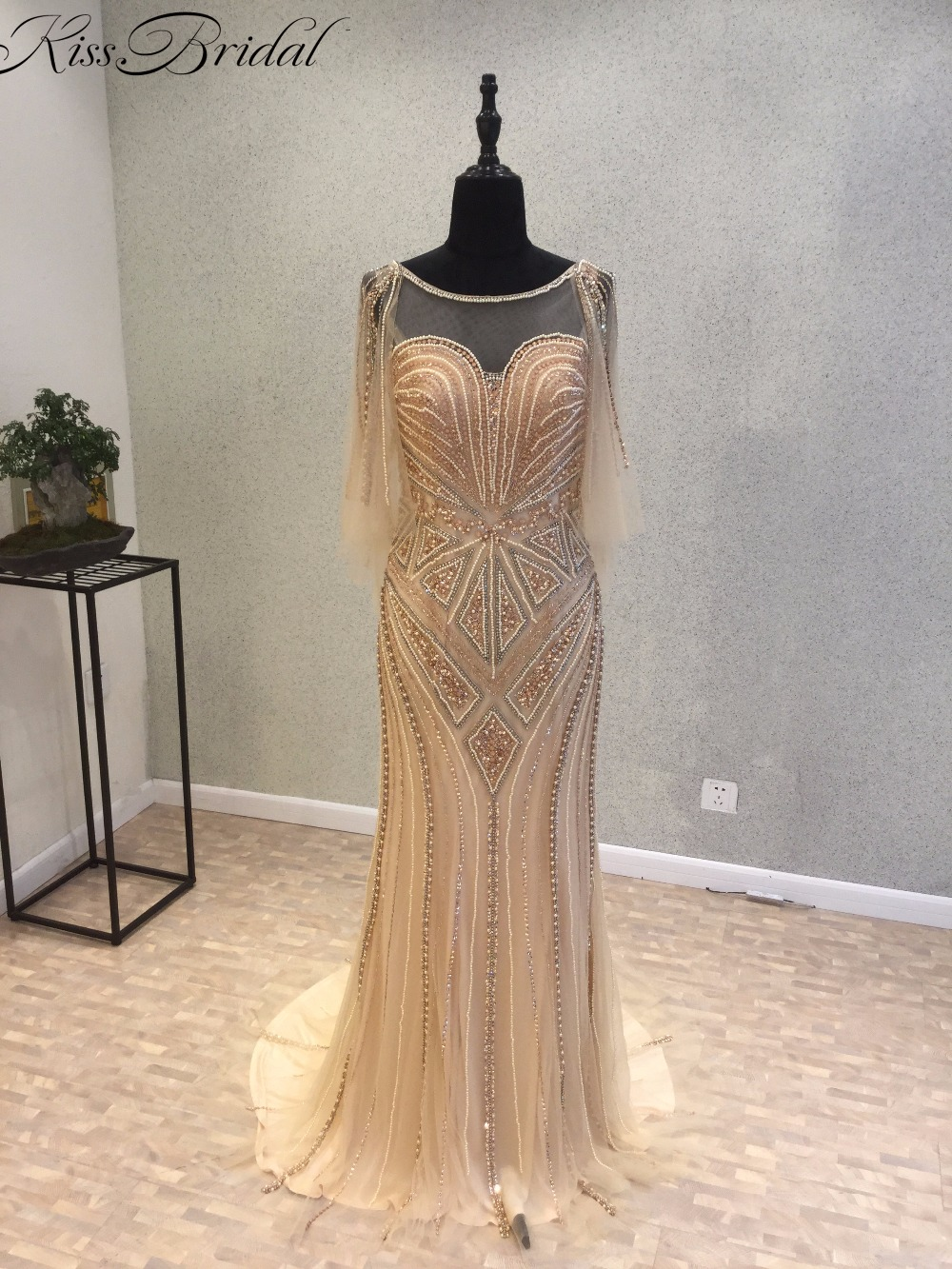 Gouden luxe zeemeermin avondjurken lange 2017 vestidos de baile - Jurken voor bijzondere gelegenheden - Foto 1
