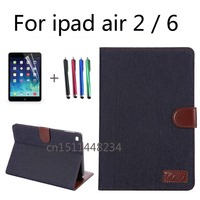 Brand Luxury Business Cowboy Shockproof Flip Wallet Stand PU Leather Case For Apple Ipad Air 2