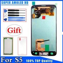 Super AMOLED HD LCD Samsung Galaxy S5 G900 G900F G900H için Yedek LCD Ekran Dokunmatik Ekran Digitizer