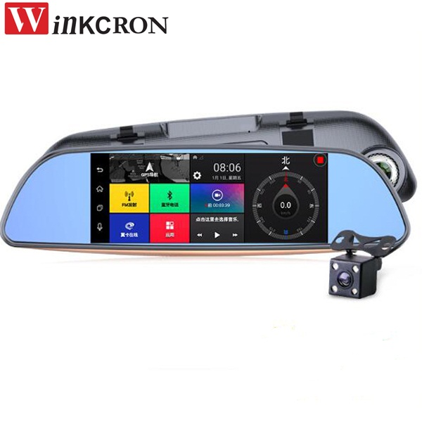 7 inch IPS Touch Car DVR Mirror Android GPS Navigation Dash Cam WIFI 16GB Dual Lens Car Video Recorder Free Map